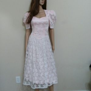 Vintage Pink Lace Princess A line Dress